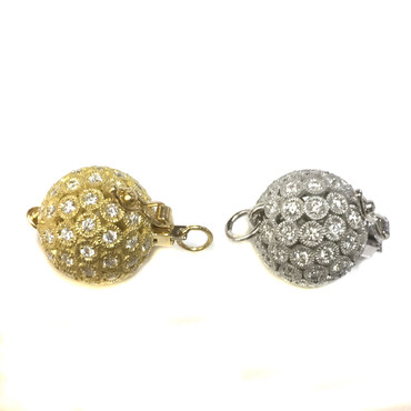 Gold Diamond Ball Clasp 14mm Perfect for Single Necklace Or Bracelet