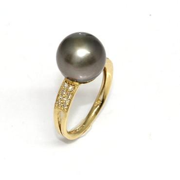 Tahitian Pearl & Diamond Sincere Ring 11 MM Dark Gray AAA