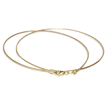 """DETACHABLE CLASP 14K- Yellow Gold OMEGA CHAIN NECKLACE 18"""""""