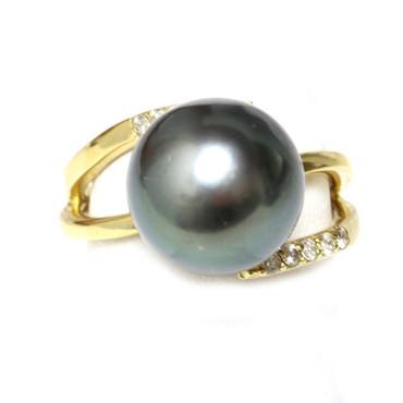 Tahitian Pearl & Diamond Adore Ring 12 mm AAA Flawless Black / Dark Grey