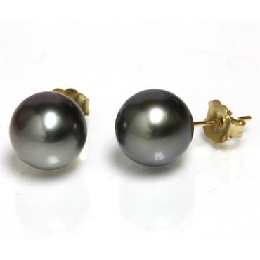 Tahitian Pearl Stud Earrings 9 MM Black AAA Flawless 3