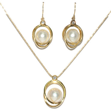 South Sea Pearl & Diamond Dangle Earrings / Pendant 18kt  AAA Flawless