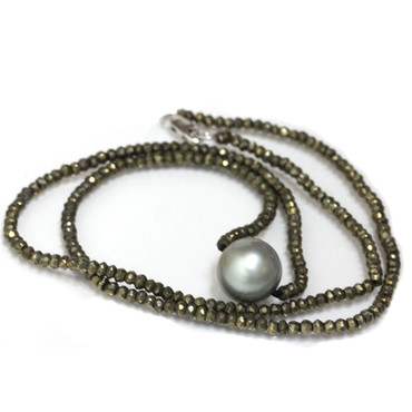 Tahitian Pearl & Faceted Pyrite Solitaire Pearl Necklace 18k Gold