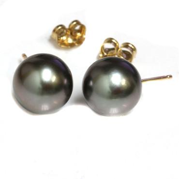 Tahitian Pearl Stud Earrings 9.5 MM Black AAA Flawless