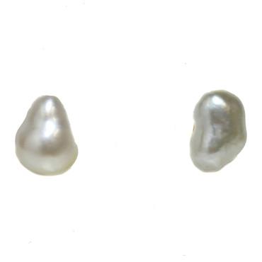 South Sea Keshi Baroque Pearl Stud Earrings 7.5 MM AAA Flawless