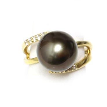 Tahitian Pearl & Diamond Adore Ring 12 mm AAA Black 1
