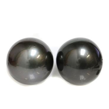Tahitian Pearl Stud Earrings 14.5 MM Black AAA-