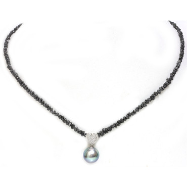 Tahitian Pearl & Black Diamonds Solitaire Necklace 11 MM AAA