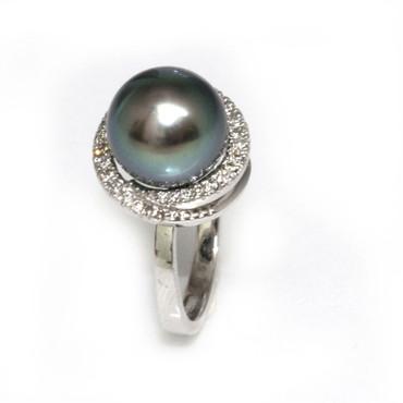 Tahitian Pearl & Diamond Halo Ring 11 MM Blue Green AAA