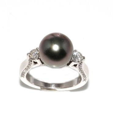 Tahitian Pearl & Diamond Engagement Ring 10 MM AAA Flawless 2