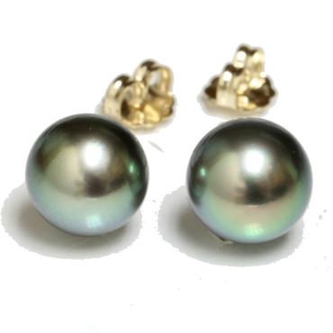 Tahitian Pearl Stud Earrings 9 MM Intense Green AAA