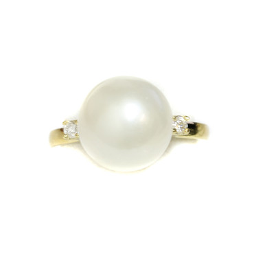 South Sea Pearl Diamond Promise Ring 11 mm AAA Flawless White
