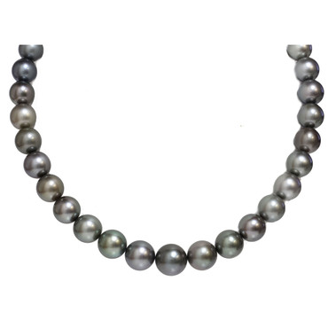 Tahitian Pearl Necklace 14 - 11 MM Rich Gray AAA Flawless