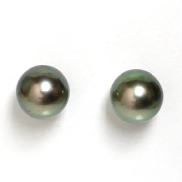 Tahitian Pearl Stud Earrings 9 MM Green AAA Flawless