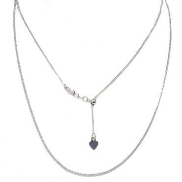 """14kt White Gold Adjustable Wheat Chain You to 20"""" All in 1 Easy slide and adjust"""