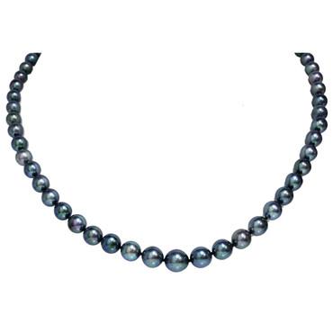 Akoya Pearl Necklace 9.5 - 5 MM AAA Black Green