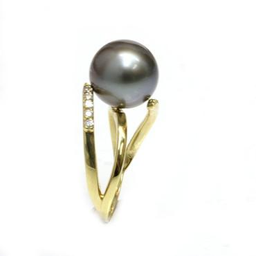Tahitian Pearl & Diamond Adore Ring 11 mm AAA Black