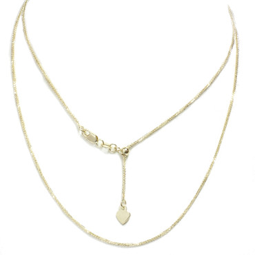 """14kt Yellow Gold Adjustable Wheat Chain You to 20"""" All in 1 Easy slide and adjust"""