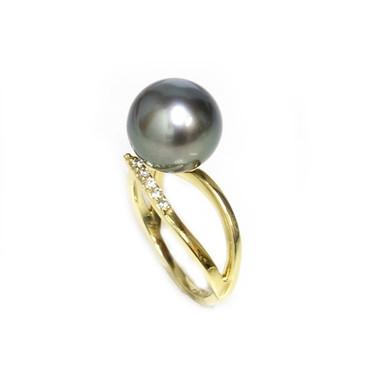 Tahitian Pearl & Diamond Adore Ring 11 mm AAA Black Green