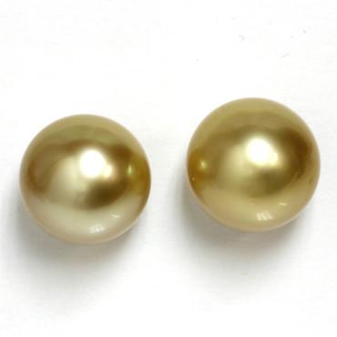 South Sea Pearl Stud Earrings 12 MM Golden AAA 1