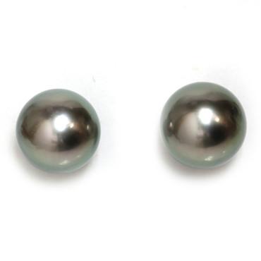 Tahitian Pearl Stud Earrings 11 MM Green AAA