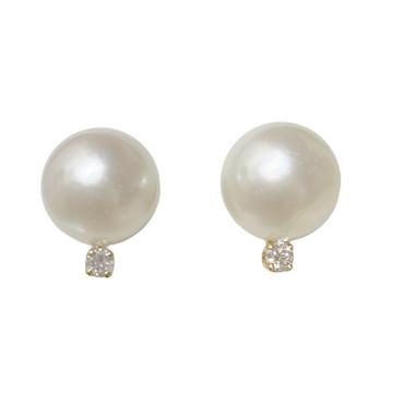 Diamond South Sea Pearl Stud Earrings 12 MM White AAA