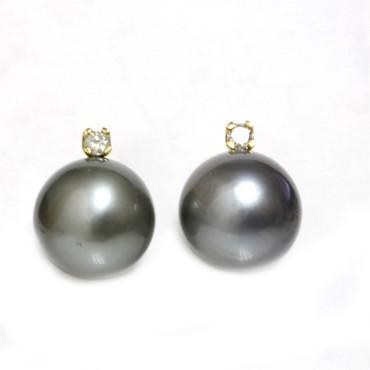Tahitian Pearl Diamond Stud Earrings 12 MM AAA-