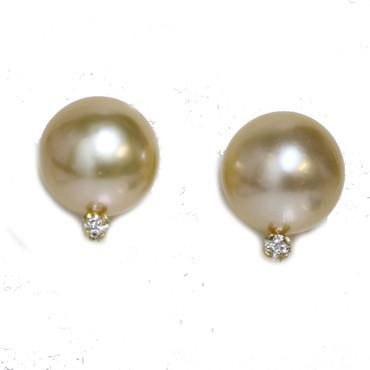 Diamond South Sea Pearl Stud Earrings 10.5 MM Golden AAA