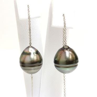 Tahitian Pearl Threader Earrings 14 MM AA