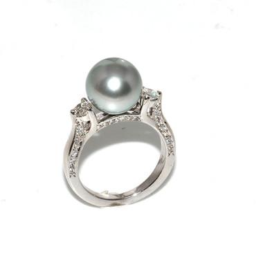 Tahitian Pearl & Diamond Engagement Ring 10 MM Blue  AAA Flawless