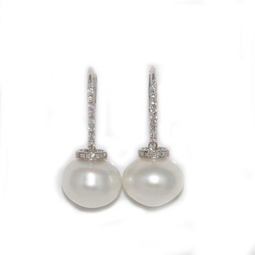 South Sea Pearl & Diamond Dangle Ria Earrings 14.5 MM AAA