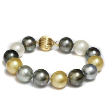 Tahitian & South Sea Pearl Bracelet AAA- Multi Color