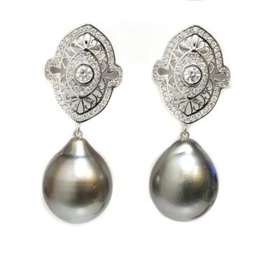 Tahitian Pearl Diamond Earrings 14.5 MM AAA