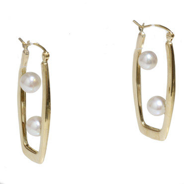 Akoya Pearl Paper Clip Earrings