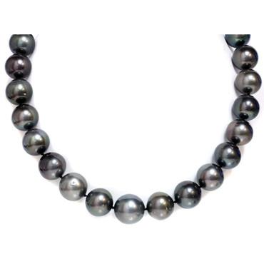 Tahitian Pearl Necklace  17 - 15 MM AAA- Black