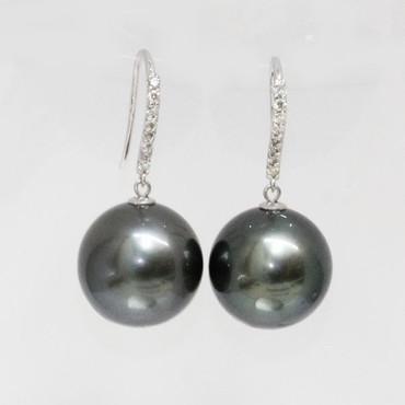 Tahitian Pearl & Diamond Dangle Joy Earrings 15 MM Black AAA-