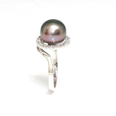 Tahitian Pearl & Diamond Halo Ring 10 MM Peacock AAA