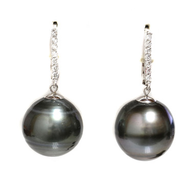 Tahitian Pearl & Diamond Leverback Earrings 15 MM AAA-