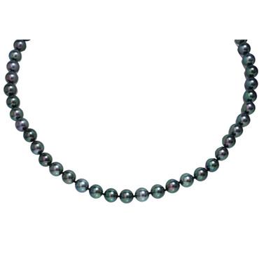 Akoya Pearl Graduated Necklace 7.5 - 8 mm Black Green AAA