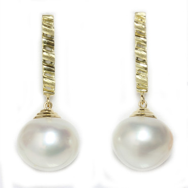 South Sea Pearl Dangle Earrings 14 MM White AAA