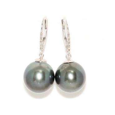 Tahitian Pearl & Diamond Dangle Leverback Twinkle Earrings 13 MM AAA