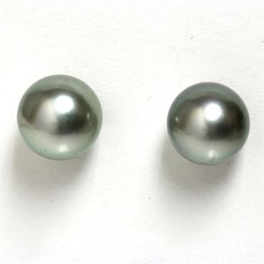 Tahitian Pearl Stud Earrings 9 MM Pistachio AAA Flawless 1
