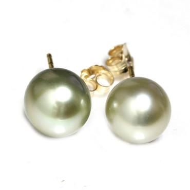 Tahitian Pearl Stud Earrings 10 MM Gray Pistachio AAA