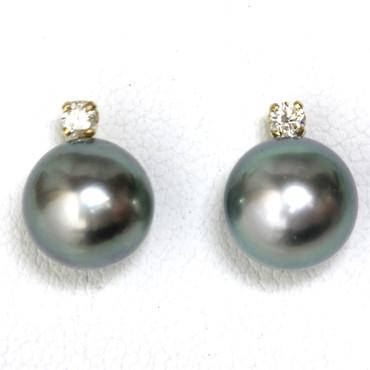 Tahitian Pearl Diamond Stud Earrings 9 MM AAA Flawless Blue Green