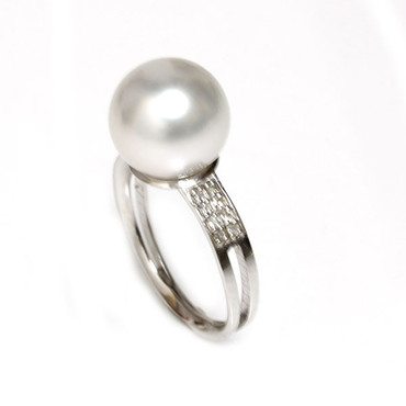 South Sea Pearl & Diamond Sincere Ring 11 - 12 MM White AAA