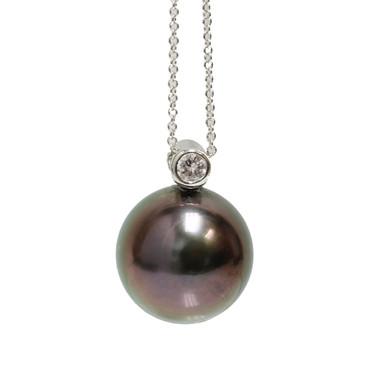 Tahitian Diamond Pearl Pendant 13.5 MM AAA Aubergine
