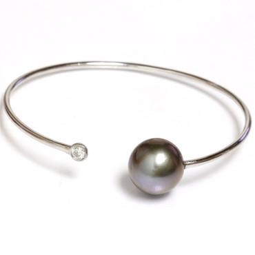 Diamond Tahitian Pearl Bangle Flex Bracelet 13 MM AAA 1
