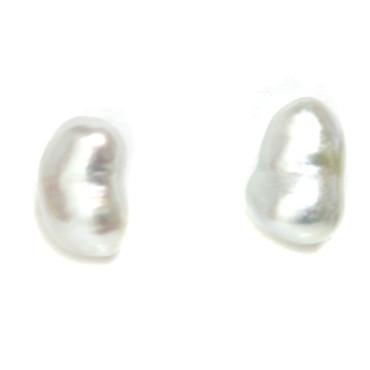 South Sea Keshi Baroque Pearl Stud Earrings AAA Flawless 1