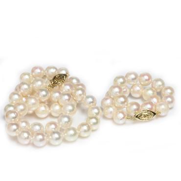 Akoya Pearl Necklace / bracelet Set 9 - 8.5 MM  AAA-