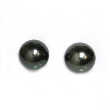 Tahitian Pearl Stud Earrings 9 MM Black AAA Flawless 2